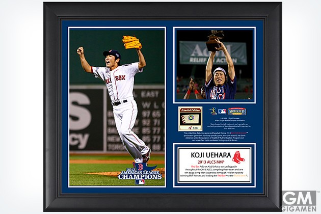 gigamen_Boston_Red_Sox_Koji_Uehara_2013_American_League_Champions_MVP_Framed_Collage_with_Game-Used_Baseball